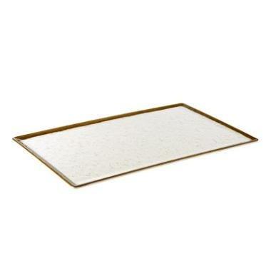 Image of Fad, melamin, hvid-brunt stenlook, 1/1GN, 53x32,5xH1X5 cm