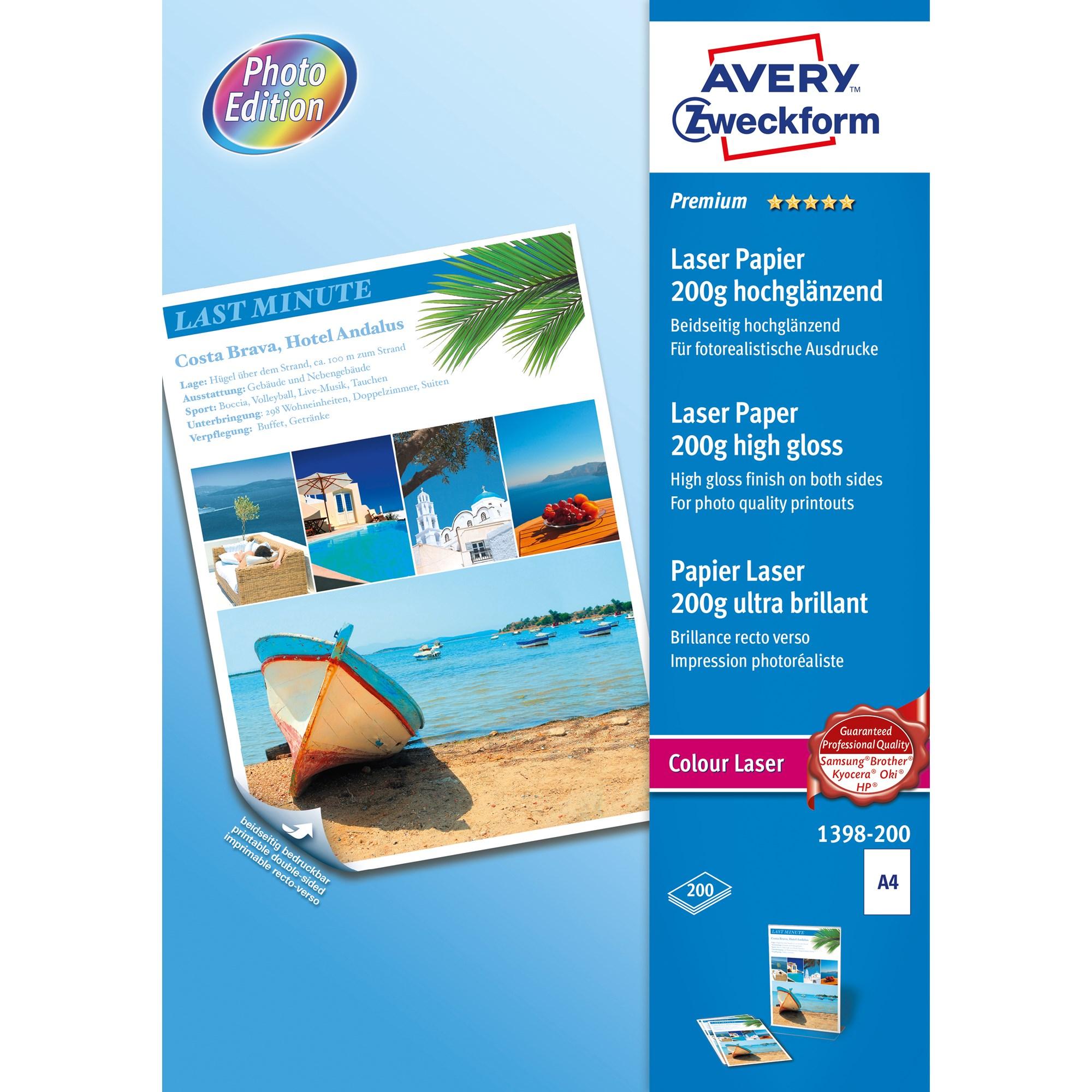 Image of Avery fotopapir glossy 200g A4 laser (200)