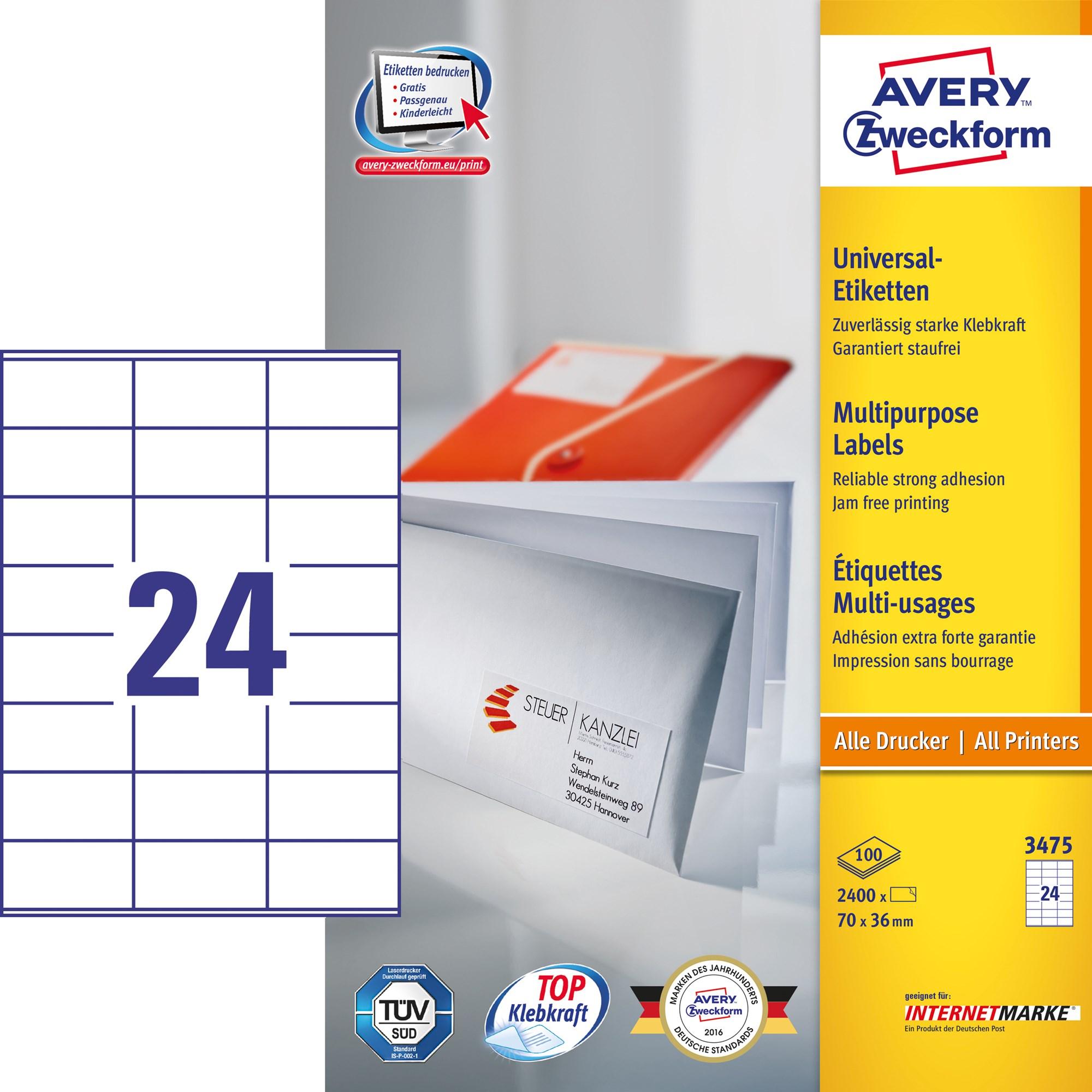 Image of Avery ILC universal etiket 70x36mm (2400)