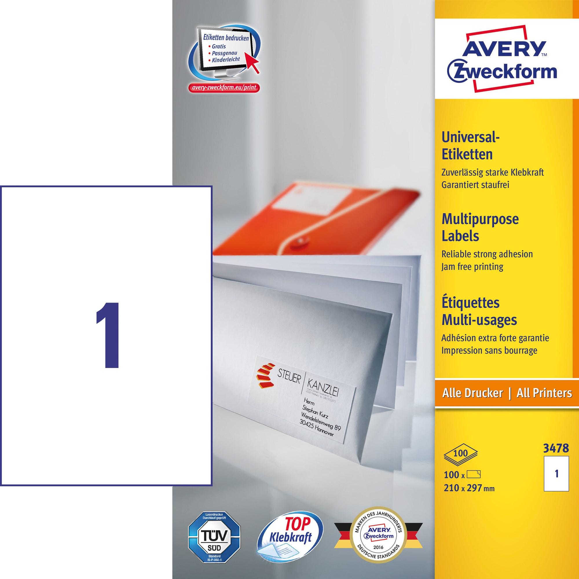 Image of Avery ILC universal etiket 210x297mm (100)