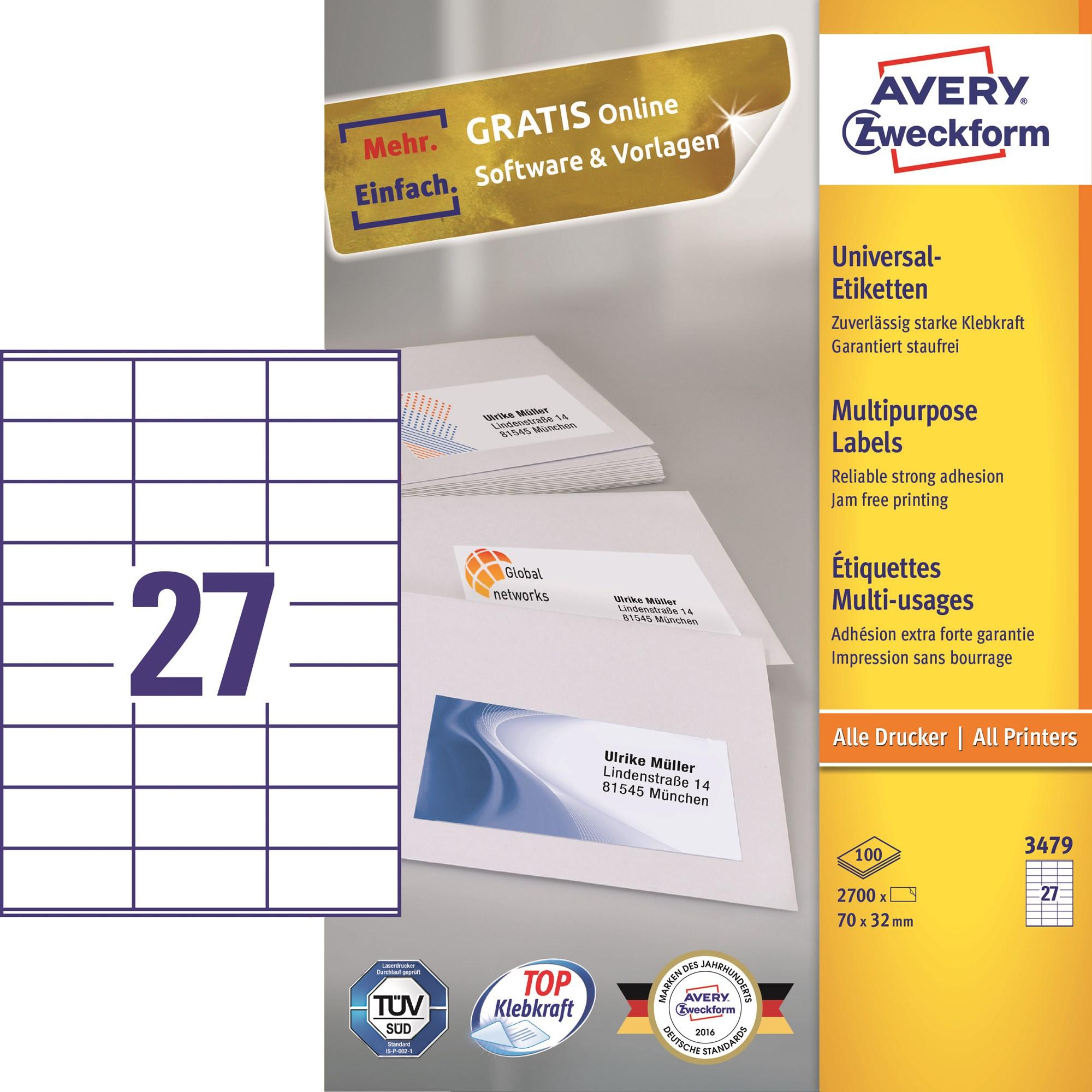 Image of Avery ILC universal etiket 70x32mm (2700)