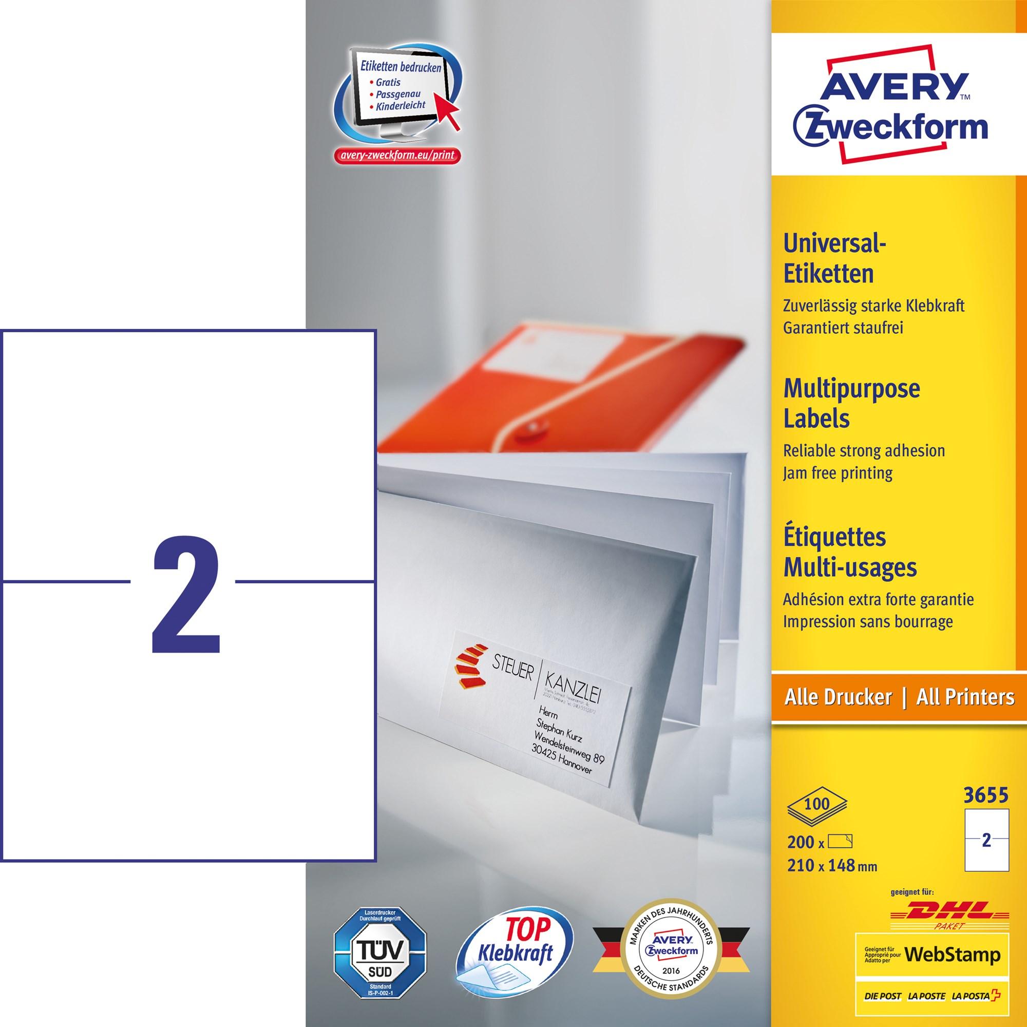 Image of Avery ILC universal etiket 210x148mm (200)