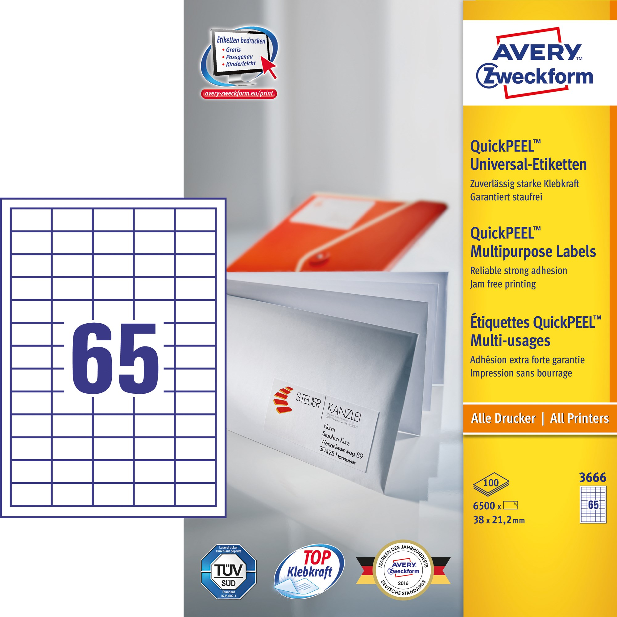 Image of Avery ILC universal etiket 38x21,2mm QP (6500)