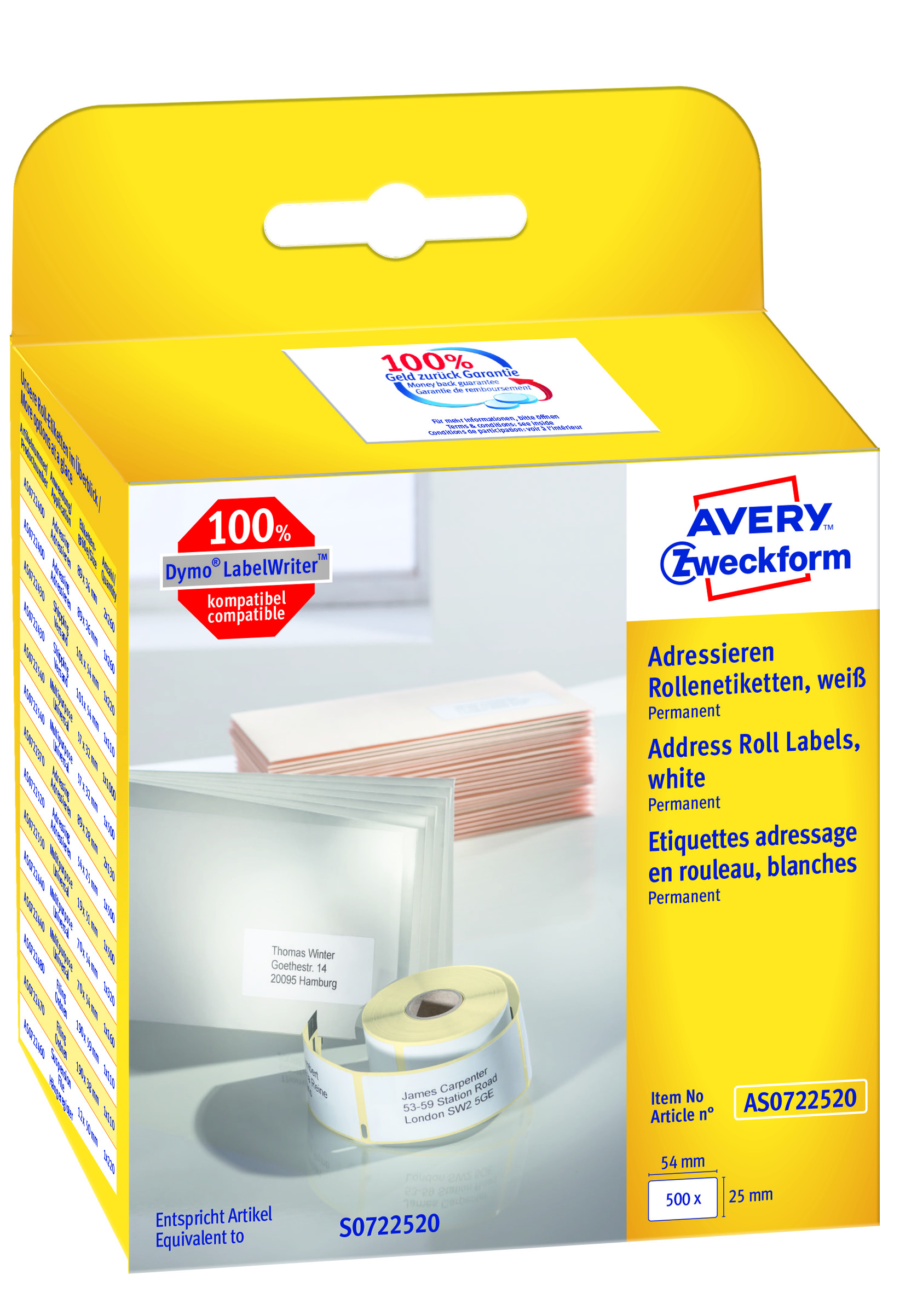 Image of Avery adresseetiket på rulle 54x25mm (500)