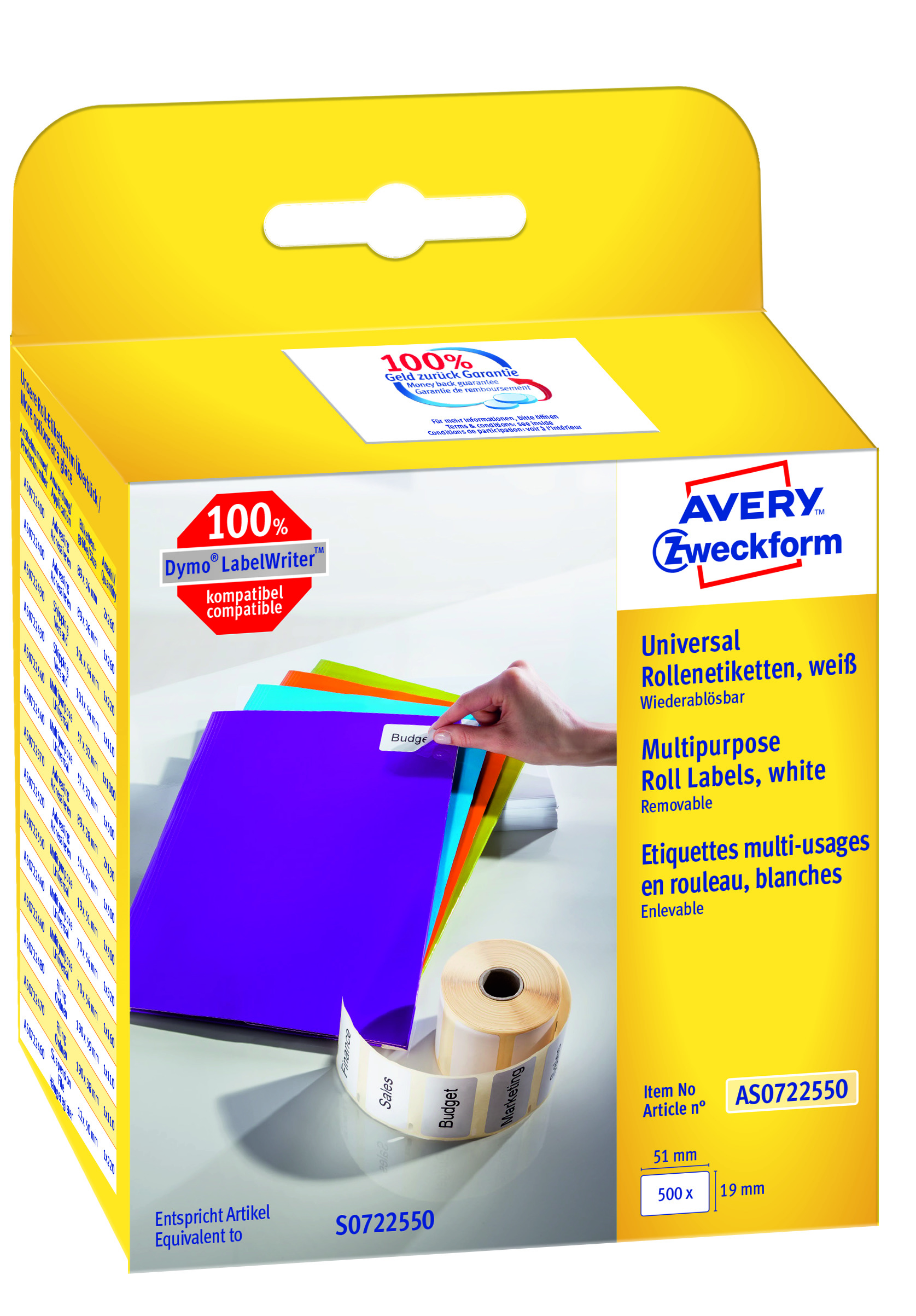 Image of Avery aftagelig etiket på rulle 19x51mm (500)