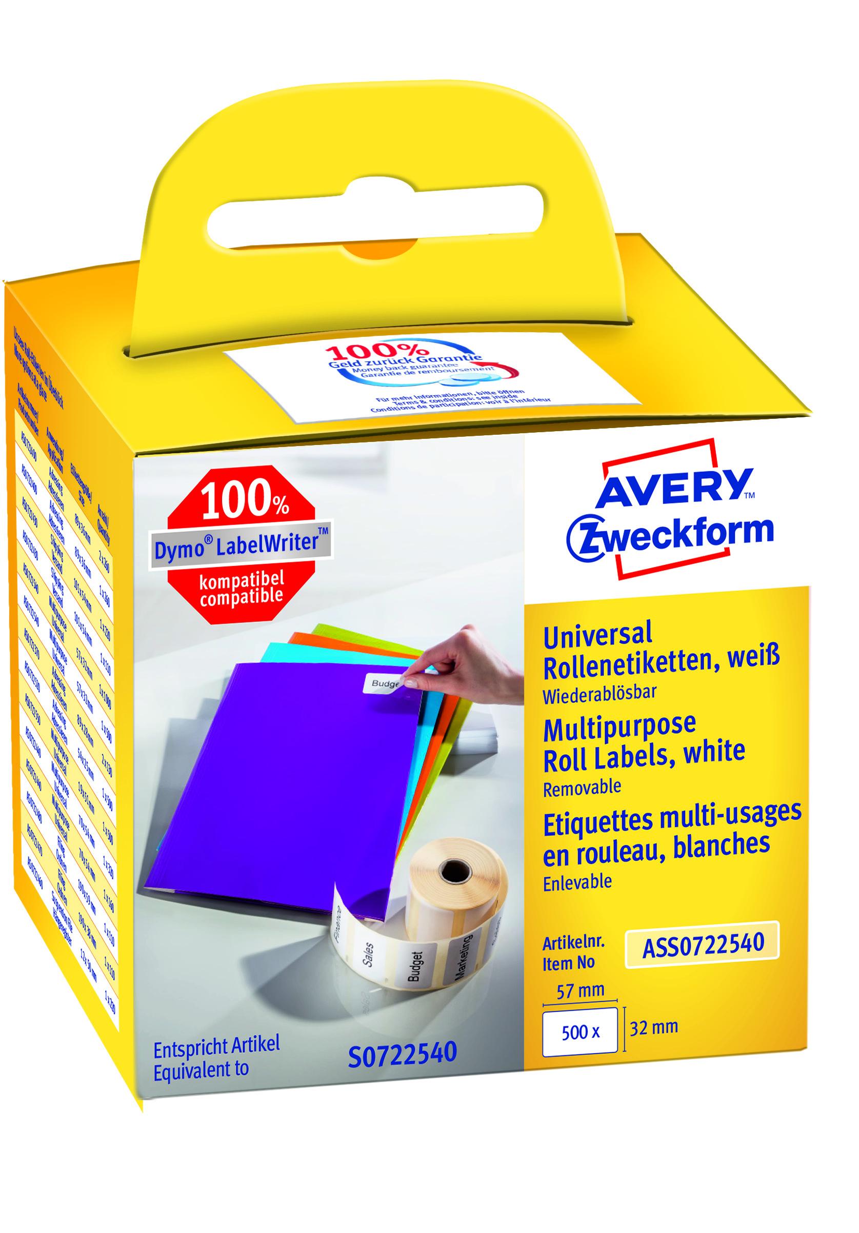Image of Avery aftagelig etiket på rulle 57x32mm (500)
