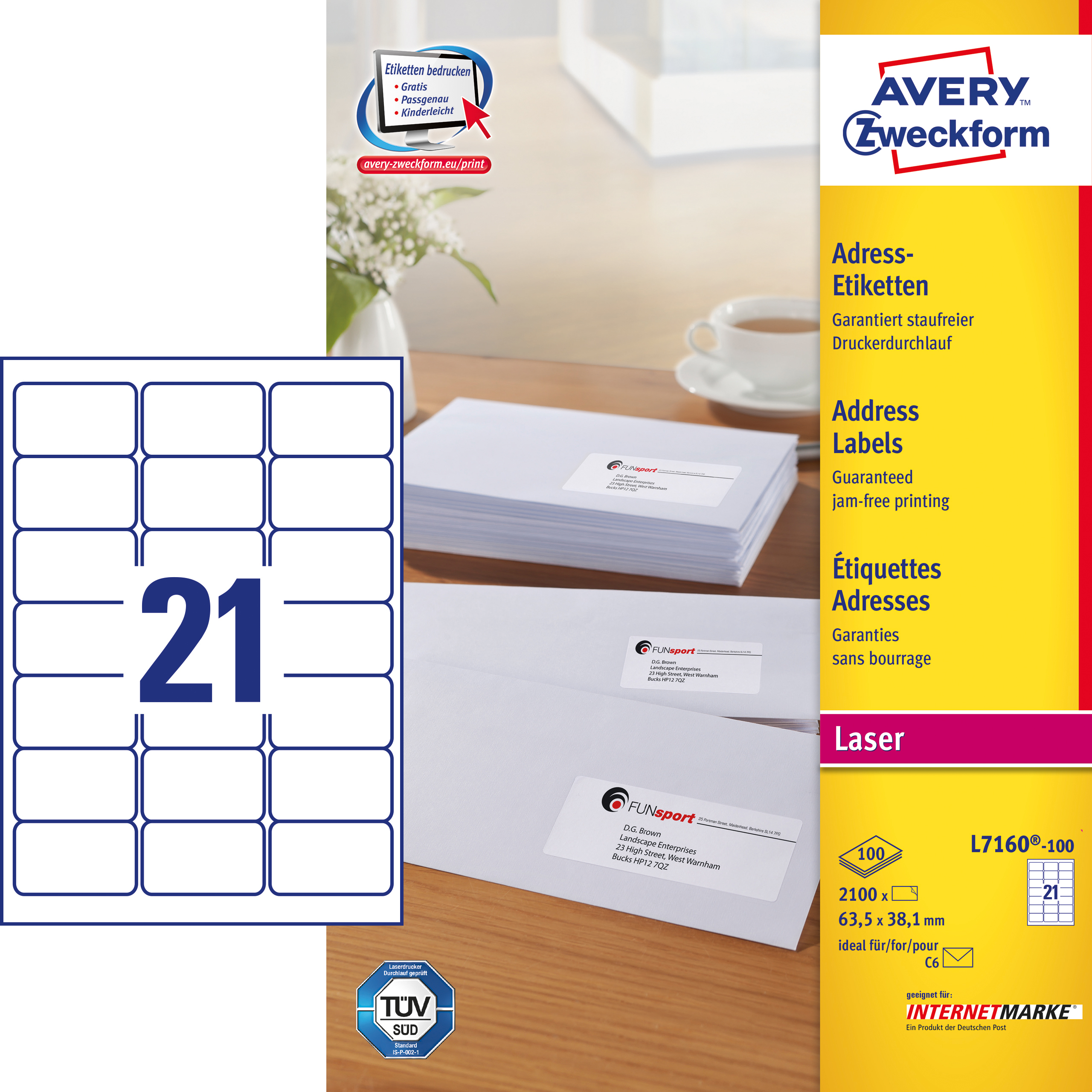 Image of Avery adresseetiket 63,5x38,1mm QP (2100)