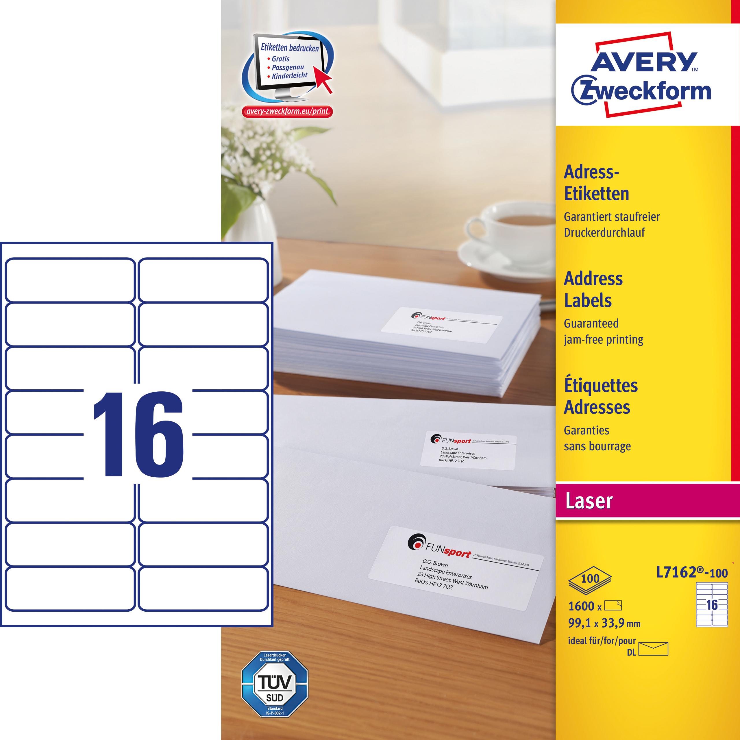 Image of Avery adresseetiket 99,1x33,9mm QP (1600)