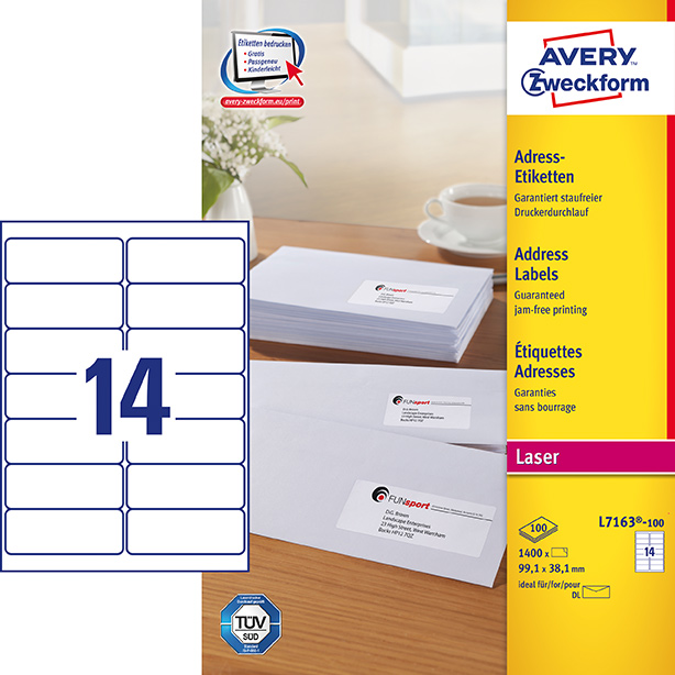 Image of Avery adresseetiket 99,1x38,1mm QP (1400)