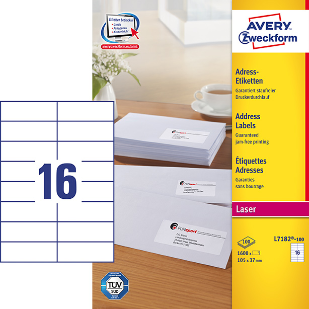 Image of Avery adresseetiket 105x37mm (1600)
