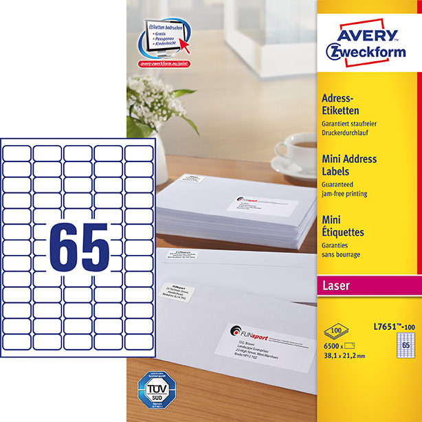 Image of Avery adresseetiket 38,1x21,2mm QP (6500)