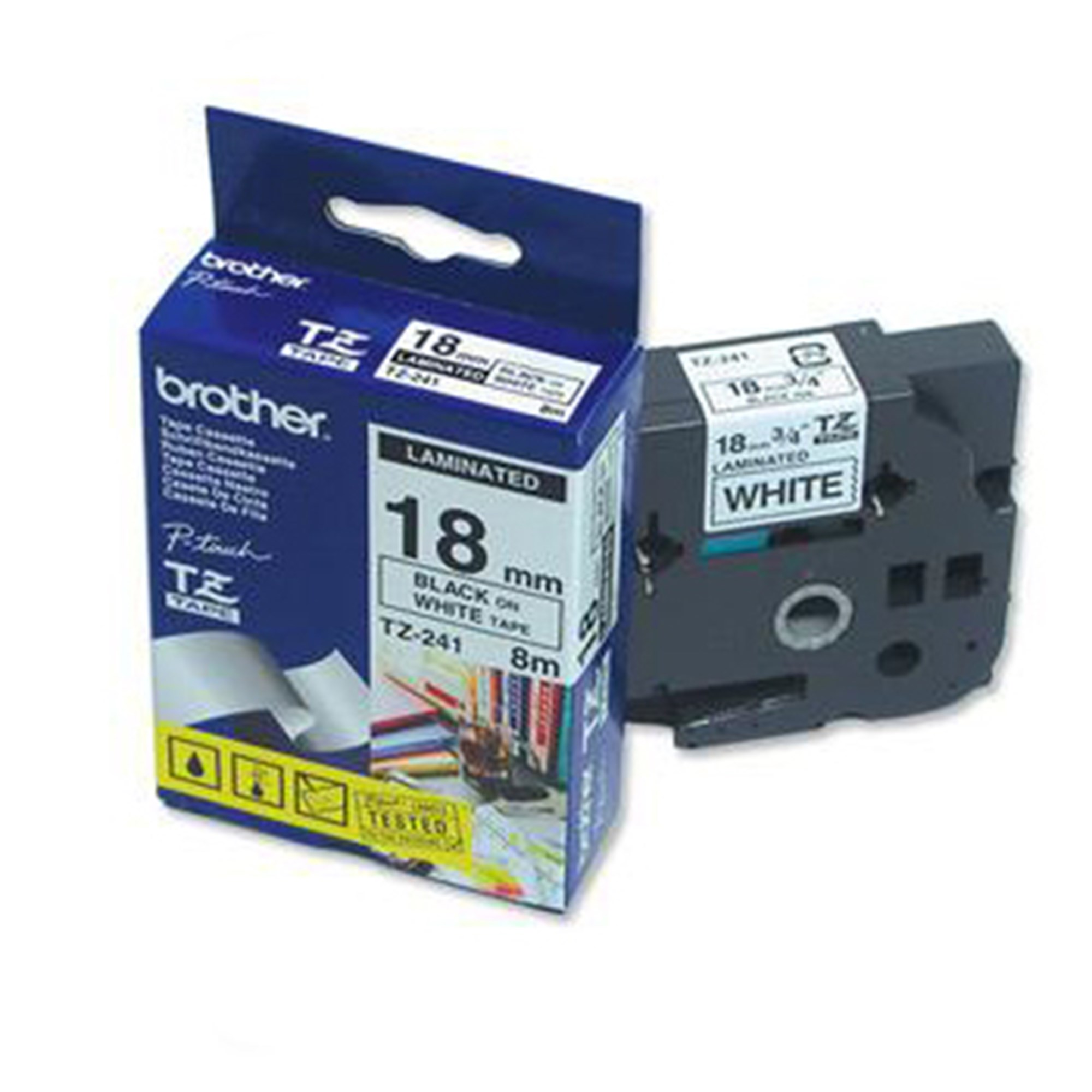 Image of   Brother TZe tape 18mmx8m black/white
