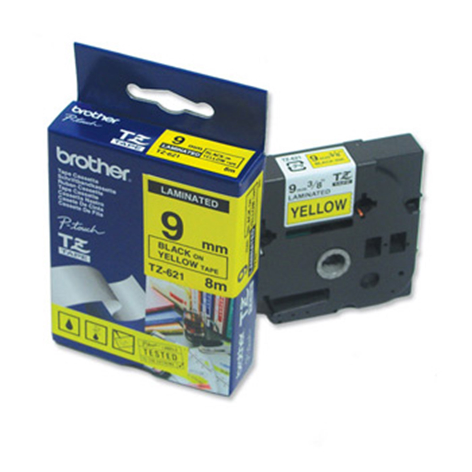 Image of   Brother TZe tape 9mmx8m black/yellow
