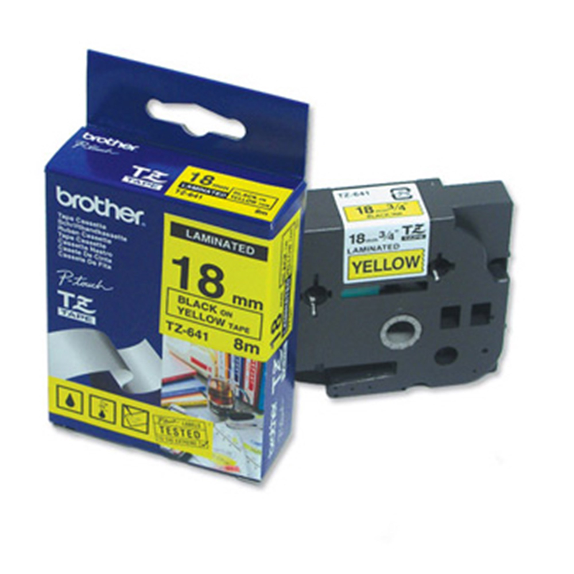 Image of   Brother TZe tape 18mmx8m black/yellow
