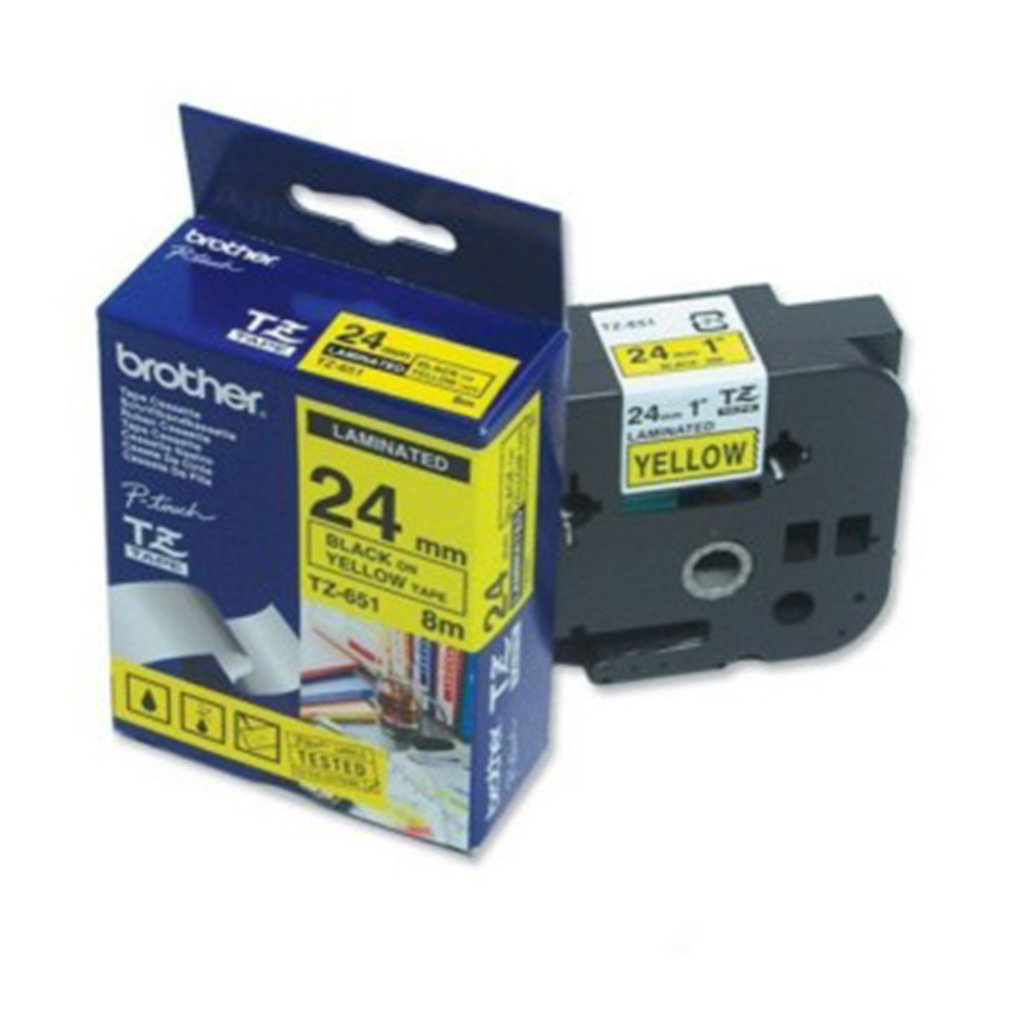 Image of   Brother TZe tape 24mmx8m black/yellow