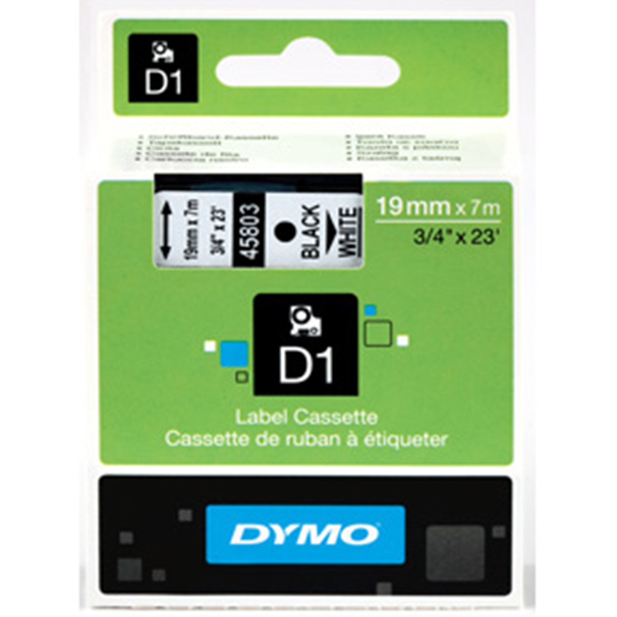 Image of   Tape D1 19mmx7m black/white
