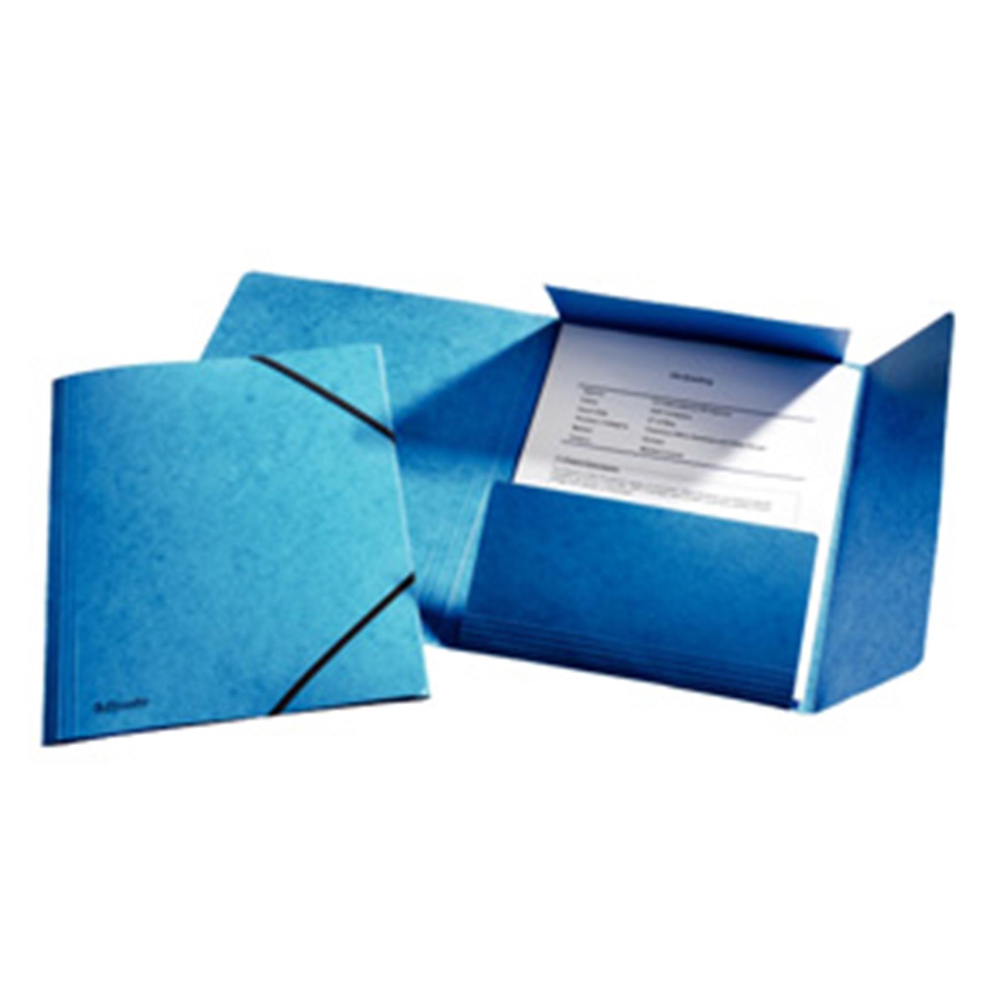 Image of   3-klap elastikmappe A4 blå