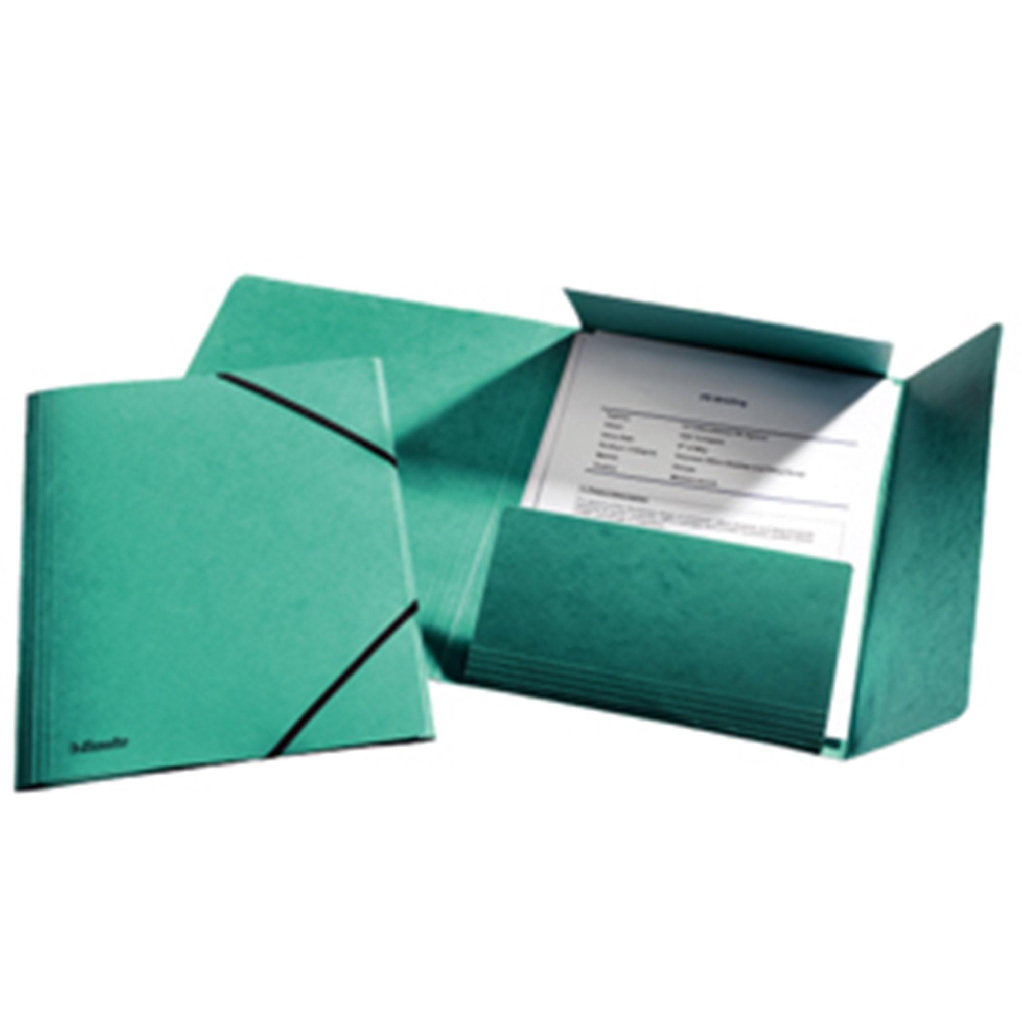 Image of   3-klap elastikmappe A4 grøn