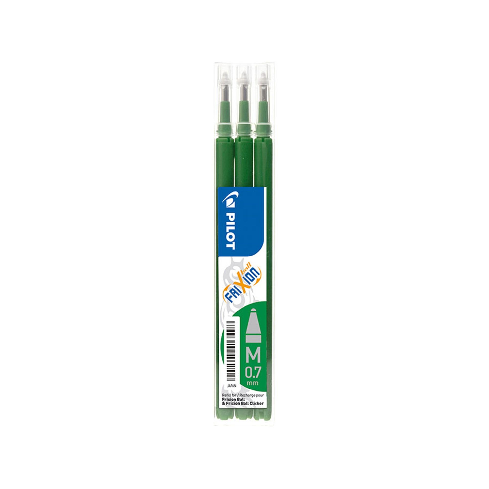 Image of   Pilot Frixion refil, til Frixion Clicker kuglepenne, 0,7 mm, grøn, 3 stk.