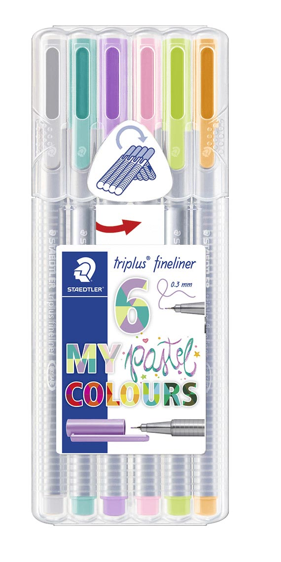 "Image of   Staedtler Fineliner Triplus 0,3mm, 6 stk. ""Pastel Colours"" - STA334SB6CS1"
