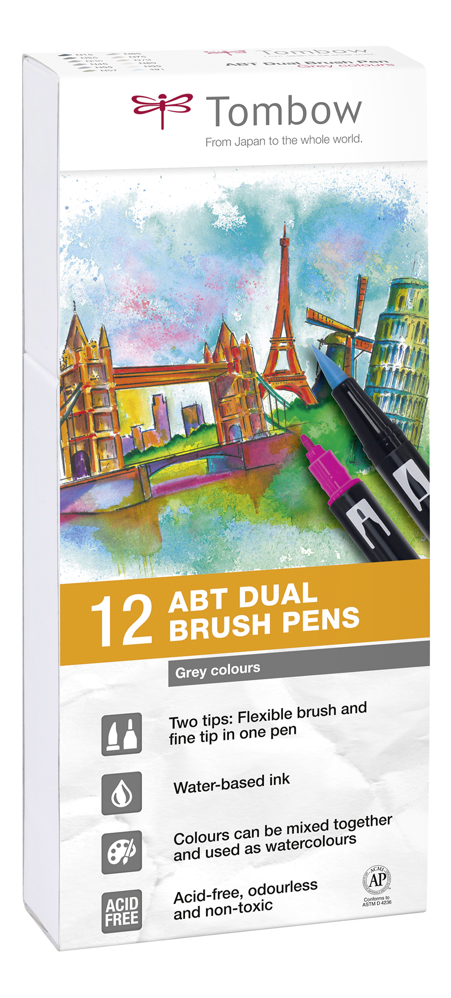 Image of   Marker Tombow ABT Dual Brush 12P-3 grå farver (12)