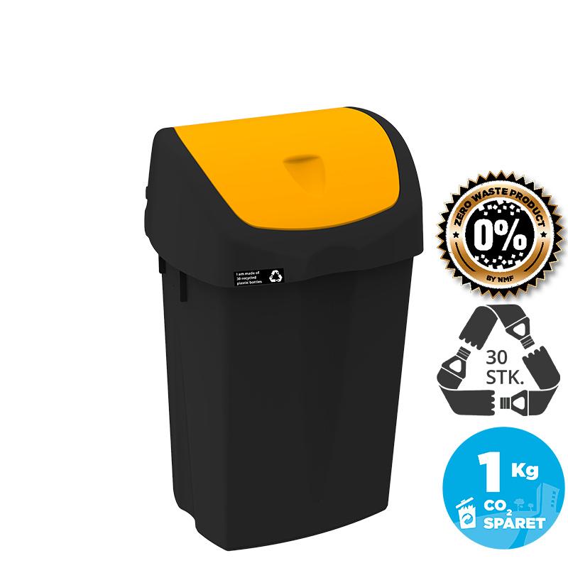 Image of   NRW Affaldsspand med gult vippelåg, bæredygtig, 25 L