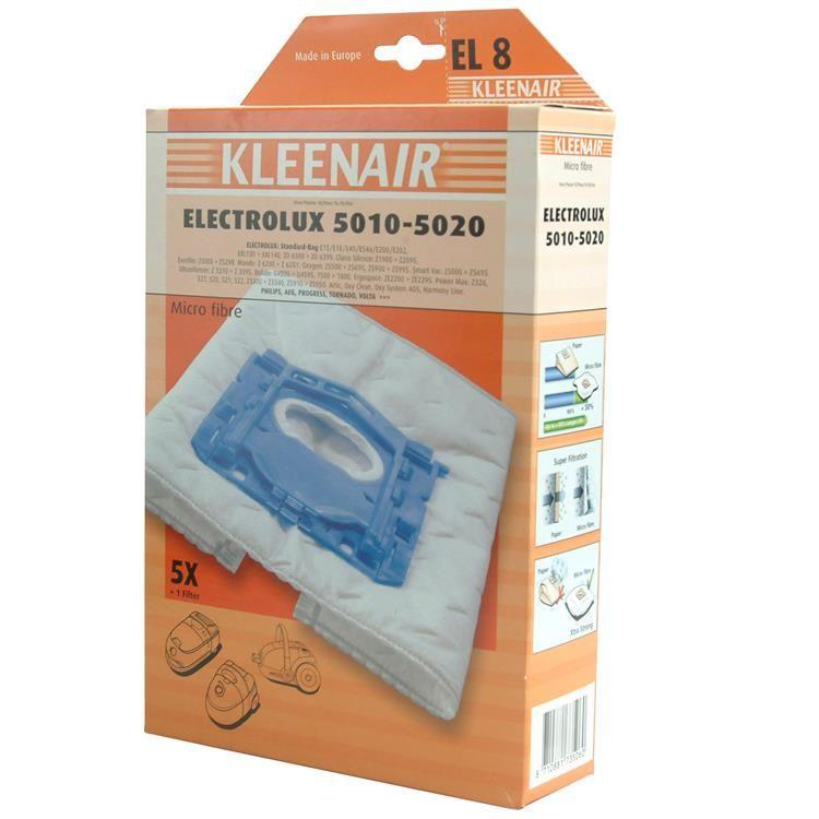 KLEENAIR EL8 støvsugerpose til Electrolux Z5000S Bag, 4 stk. + 1 filter