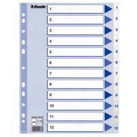 A4 register, inddeling 1-12, hvid