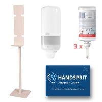 Stander til håndsprit, inkl. dispenser, sprit og magnetskilt, hvid