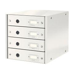 Skuffekabinet Click&Store til A4, 4 skuffer, hvid