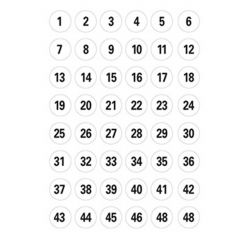 Herma etiket tal 1-240 ø12, sort/hvid