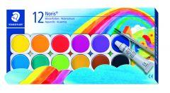 Vandfarver m/pensel 12 ass farver