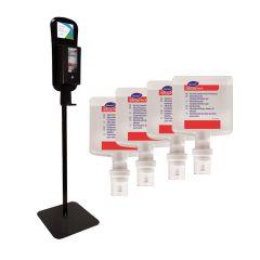 Diversey IntelliCare pakkeløsning, gulvstander m/dispenser i sort, inkl. 4 x 1,3 L hånddesinfektion og drypbakke