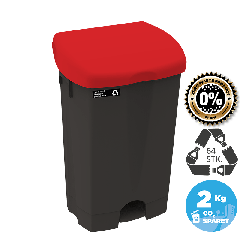 NRW pedalspand med rødt låg, bæredygtig, 50 L