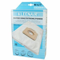 KLEENAIR NI6/7 Støvsugerpose til Nilfisk king/power mfl., 4 stk. + 1 filter