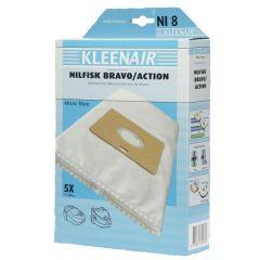 KLEENAIR NI8 støvsugerpose til Nilfisk action/bravo, 5 stk. + 1 filter