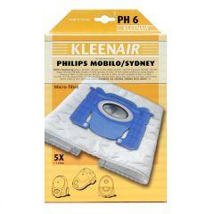KLEENAIR PH6 støvsugerpose til Philips sydney mfl., 5 stk. + 1 filter