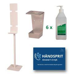 Stander til håndsprit, inkl. flaskeholder, sprit og magnetskilt