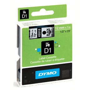 Image of   Dymo tape D1, labels, sort tekst på klar tape, 12 mm x 7 m.