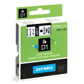 Image of   Dymo tape D1, labels, sort tekst på hvid tape, 9 mm x 7 m.