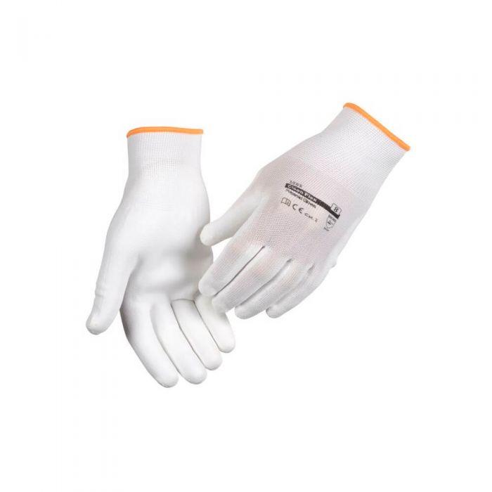 Image of   Halvdyppet PU handske, Abena, hvid polyamid | Large