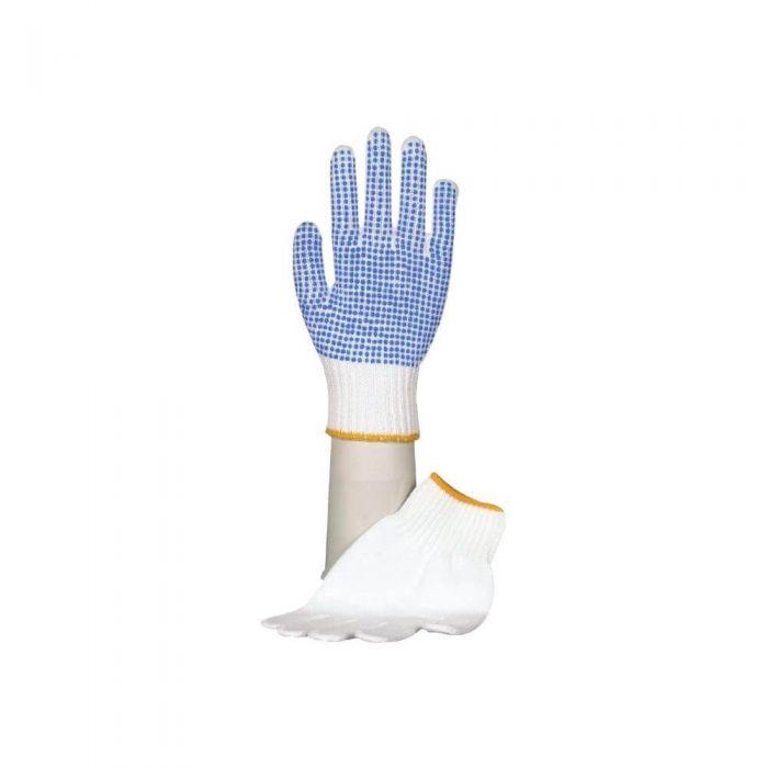 Image of   Polyesterhandske hvid, m. plastdotter af pvc | Small