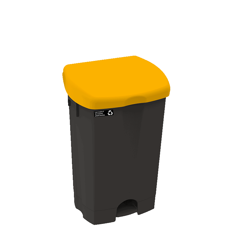 Billede af NRW pedalspand med gult låg, bæredygtig, 25 L
