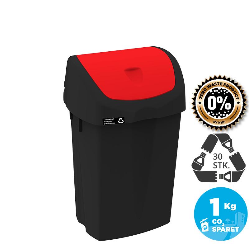 Image of   NRW Affaldsspand med rødt vippelåg, bæredygtig, 25 L