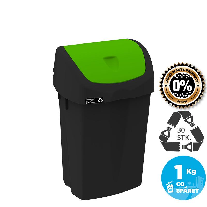Image of   NRW Affaldsspand med grønt vippelåg, bæredygtig, 25 L