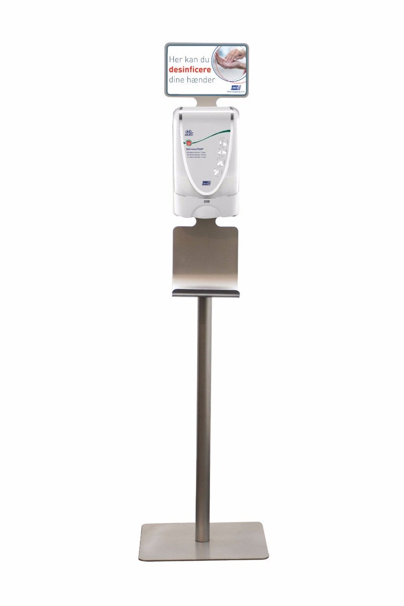Image of   Deb Stoko dispenser stander m. skilt og drypbakke, i galvaniseret stål