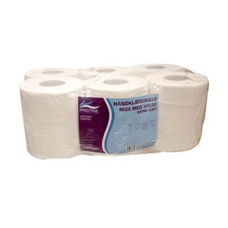 Pristine Ekstra Soft midi, håndklæderulle i 2-lag, nyfiber med hylse, 135 m, 6 rl.